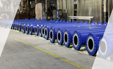 Pipe internals coated with high performance wear resistant polyurethane coating.